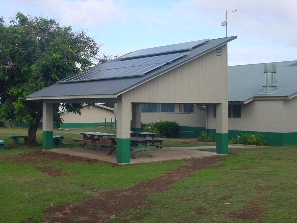 covered picnic area with slanted roof
