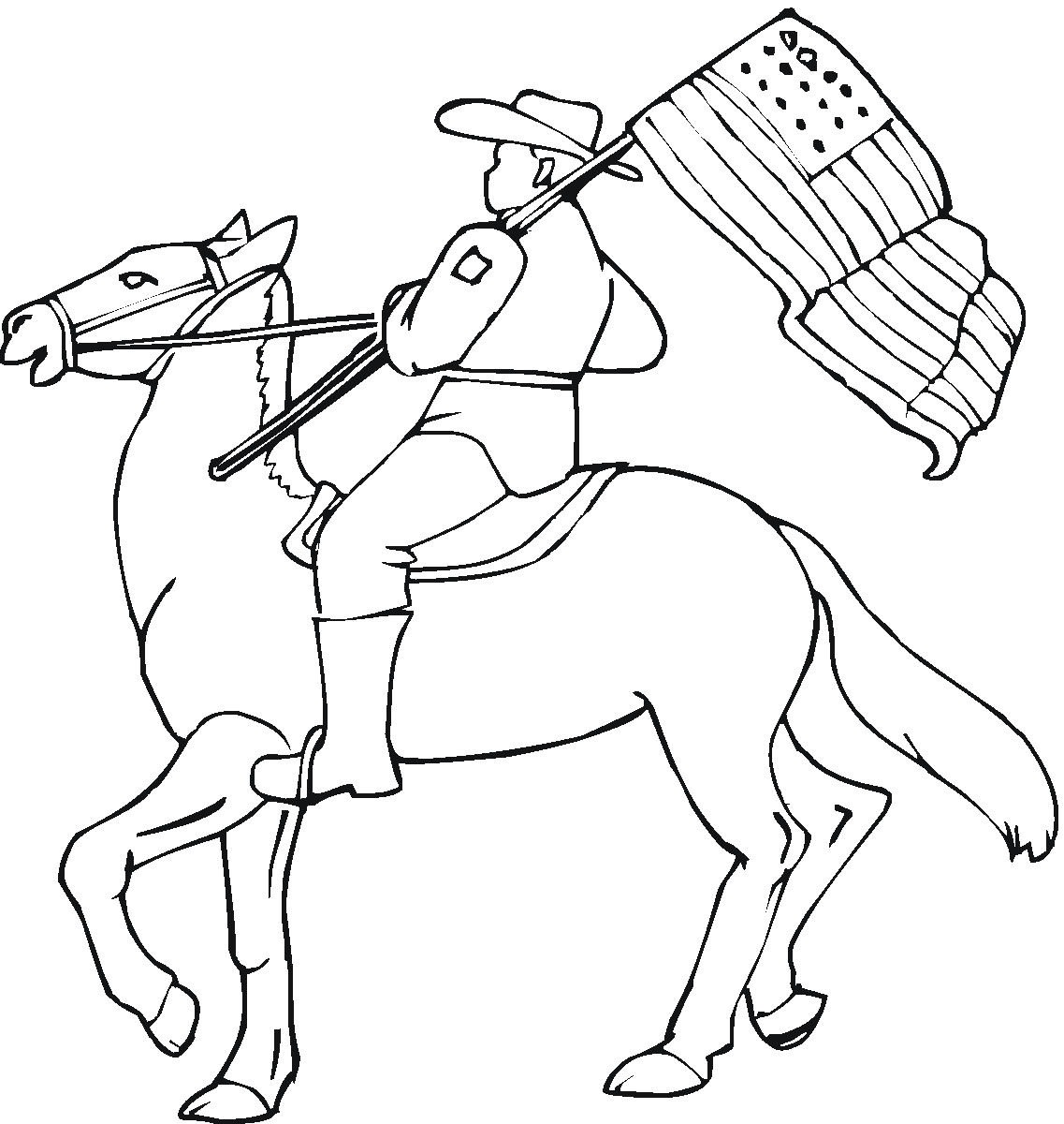 Cowboy on horseback at rodeo with American Flag. Western Cowboy Kids Coloring Pages and Free Colouring Pictures to Print