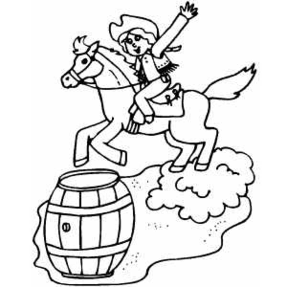 Cowboy Barrel Racing at Rodeo - Western Cowboy Kids Coloring Pages and Free Colouring Pictures to Print