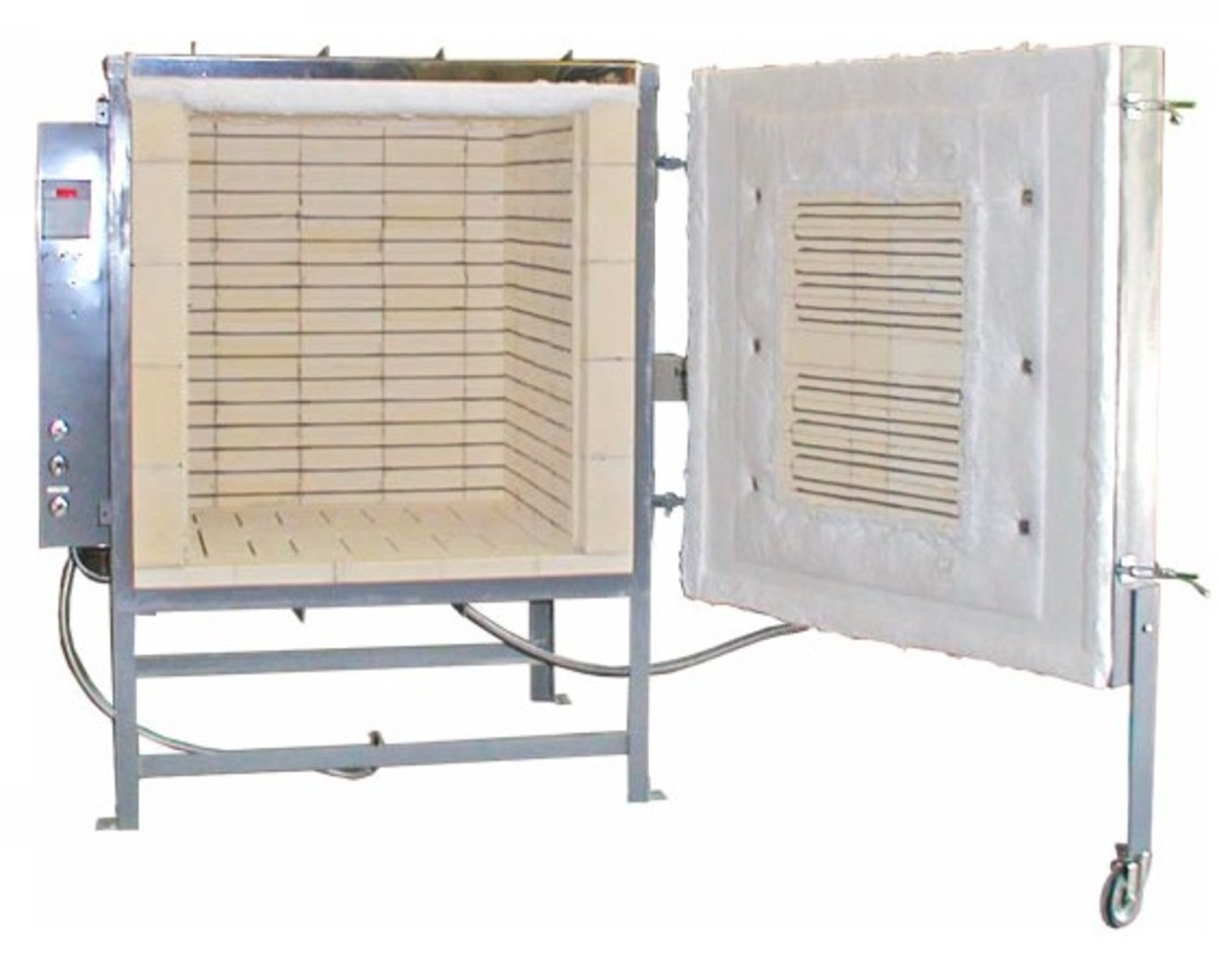 Electric kiln - A large front loading electric kiln. Image credit: Olympic kilns http://www.Bigceramicstore.com
