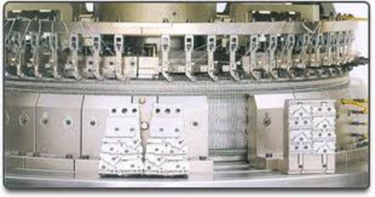 the head of an interlock/ribbing single knit tube knitting machine