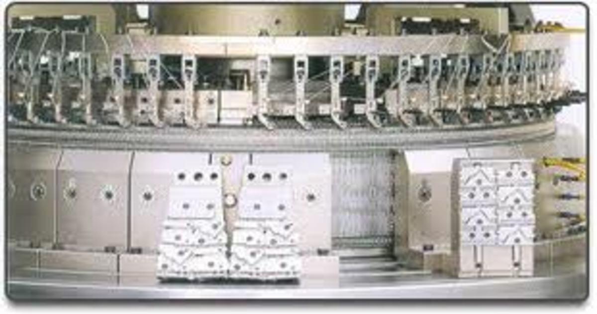 the head of an interlock/ribbing single knit tube knitting machine