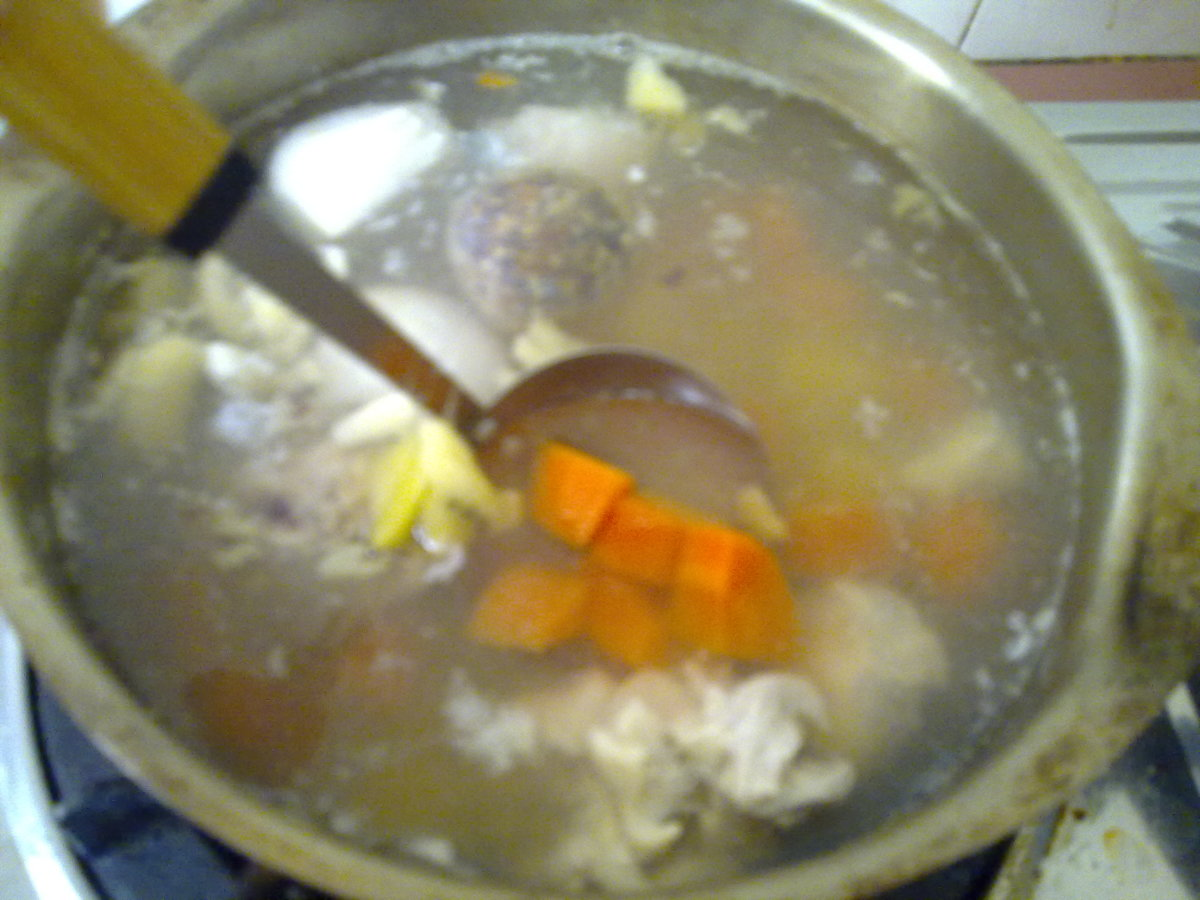 ladle the soup when you are ready to eat