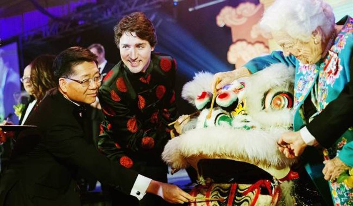 Prime Minister Justin Trudeau and former Mississauga mayor Hazel McCallion celebrate Chinese New Year in Toronto with Dr. Joseph Wong, Founder and Chair of Yee Hong Community Wellness Foundation