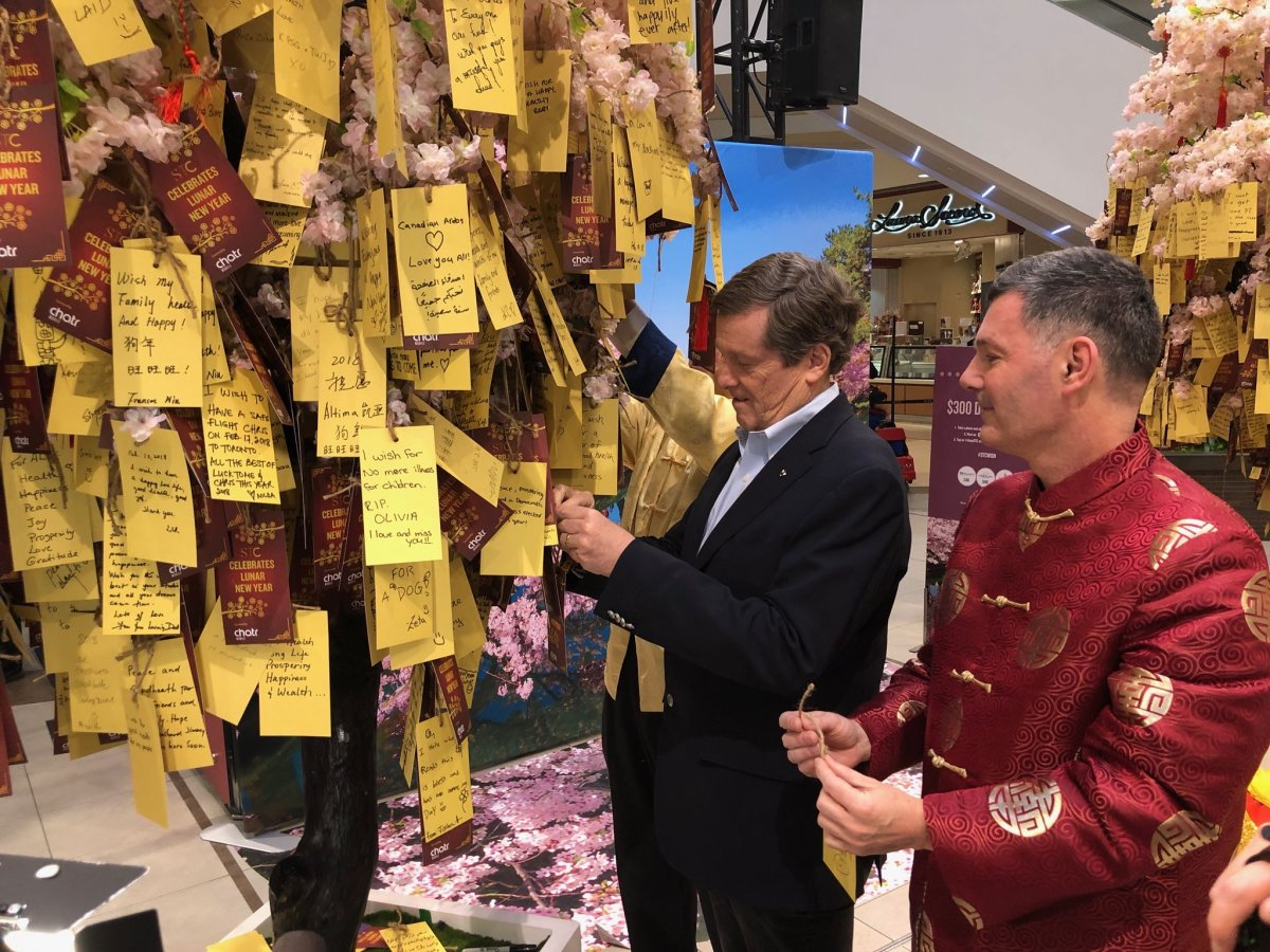 Toronto mayor John Tory participating in the Chinese New Year festivities at Scarborough Town Centre
