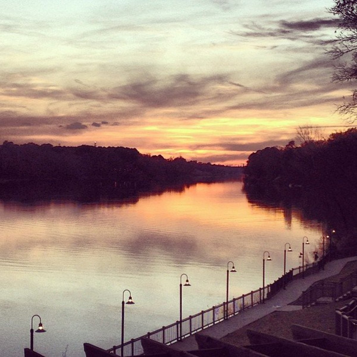 Stunning sunset over the Black Warrior River from the back deck of Cypress Inn