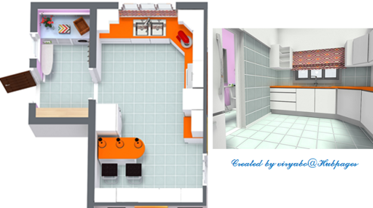 A simple kitchen design generated from a CAD software program.