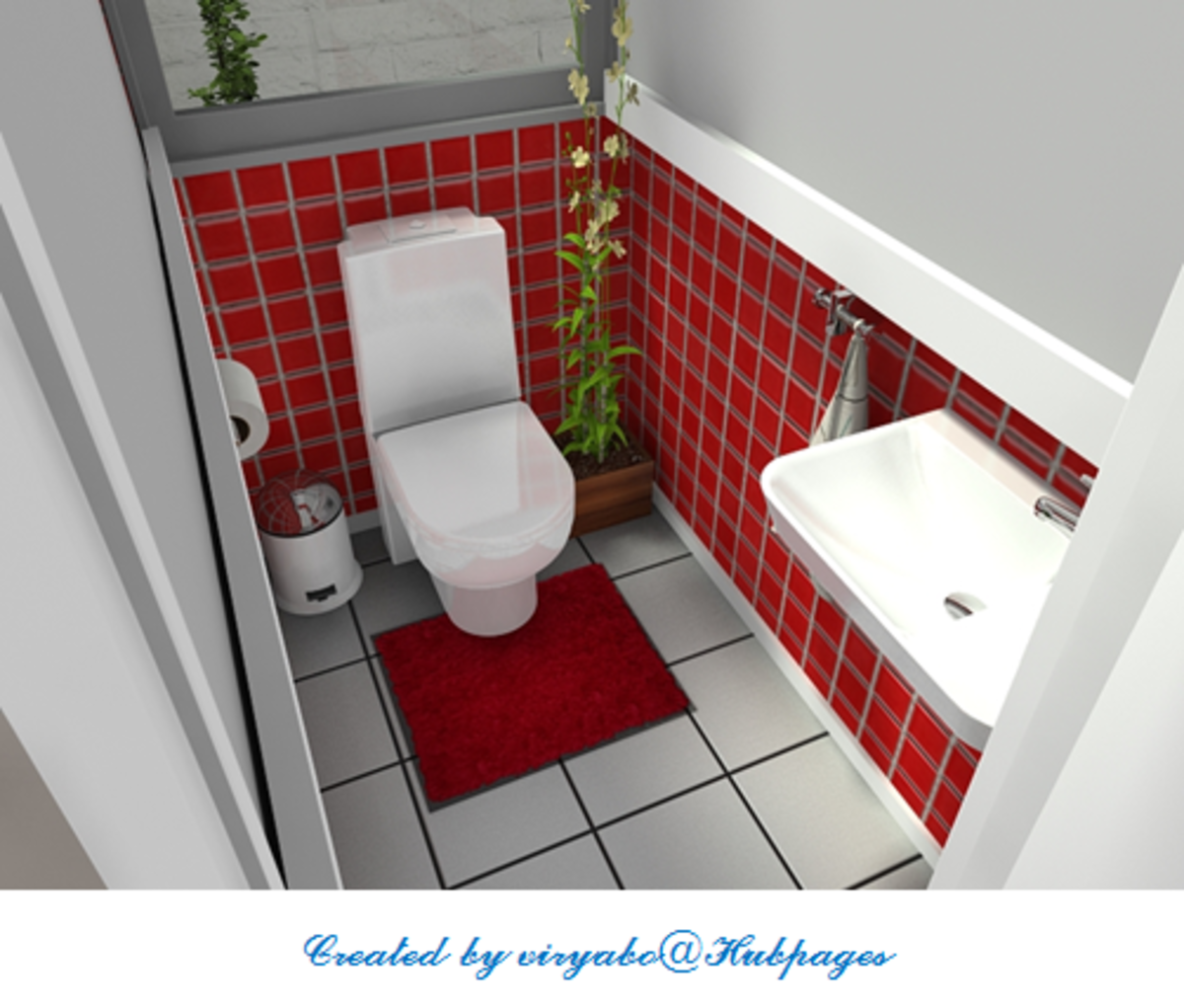 This guest bathroom design is produced with Room Sketcher computer-aided design software.