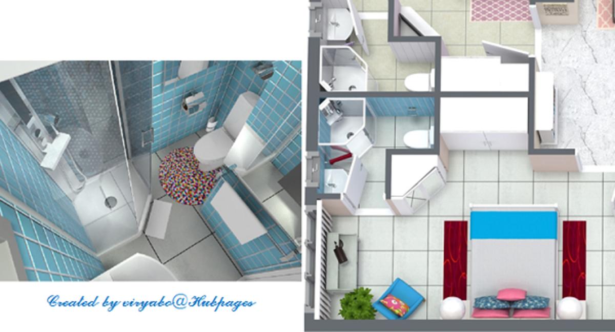 3D floor plan and rendering of a bathroom design.
