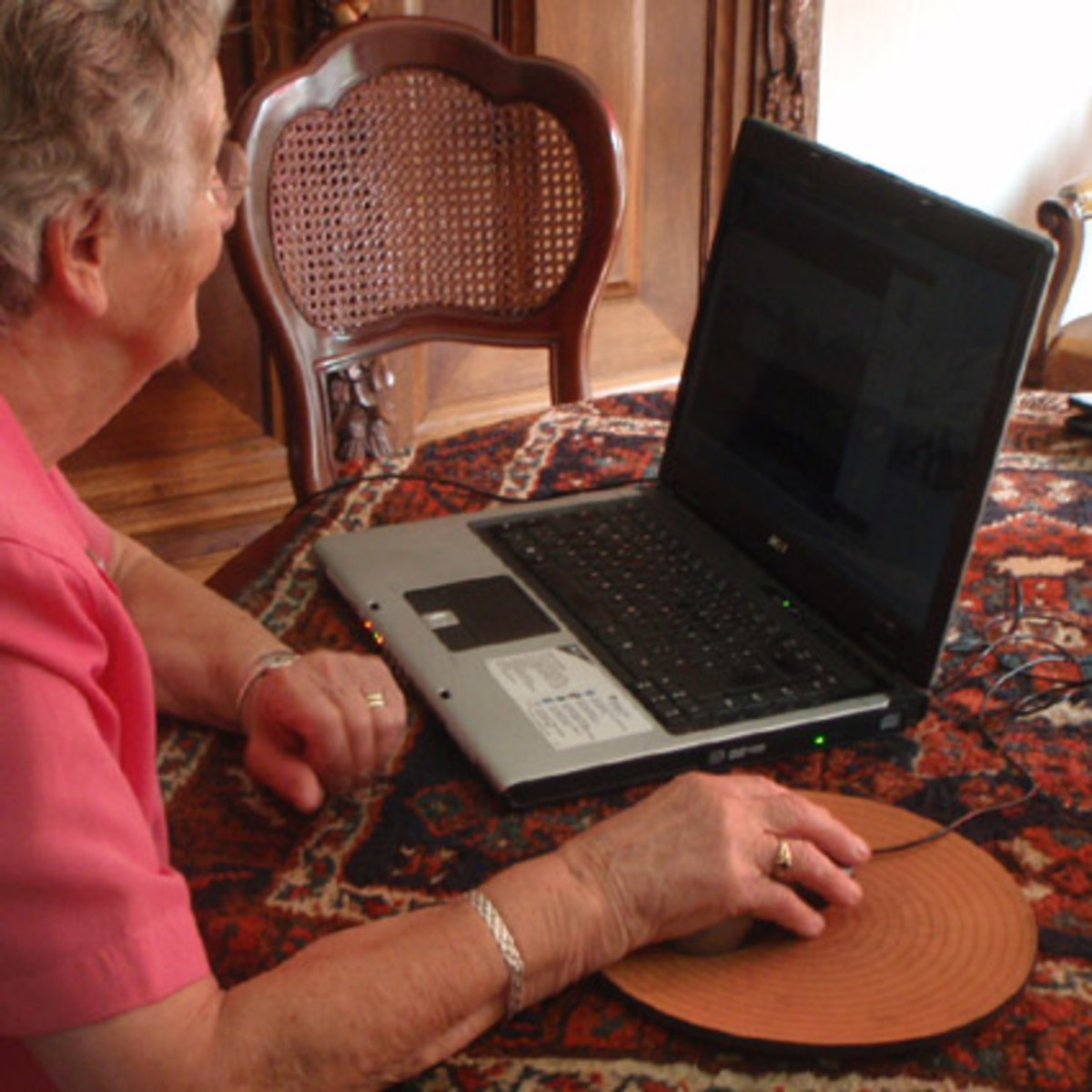 My grandma, watching a video on my laptop.