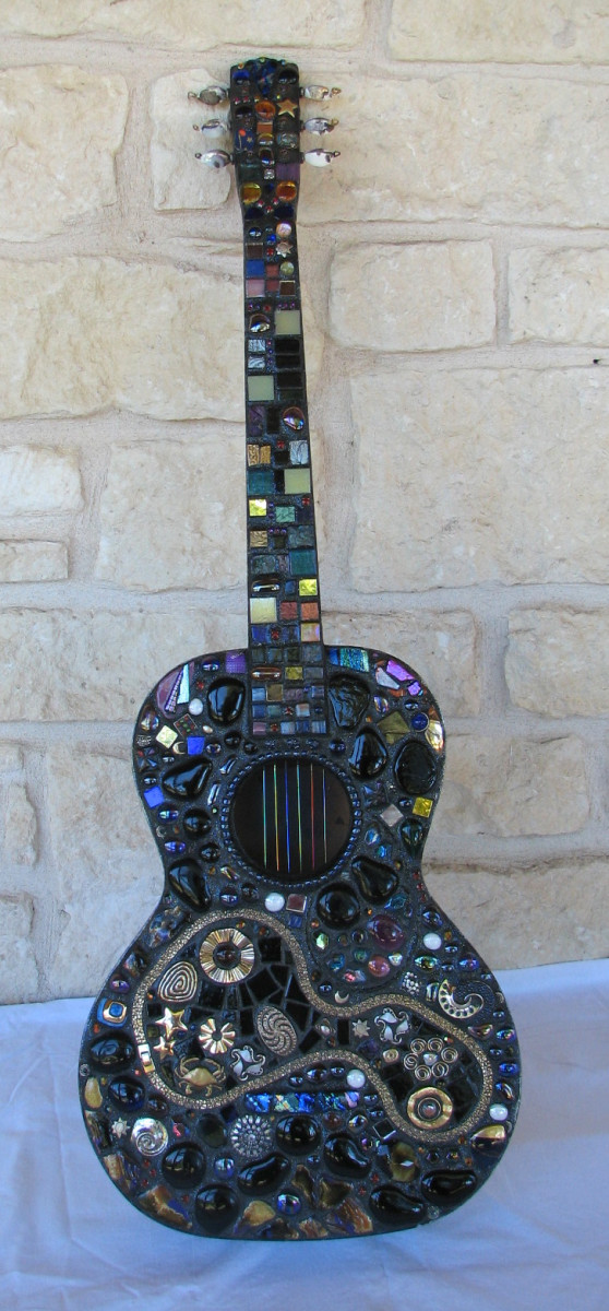 Mosaic guitar, vintage costume jewelry