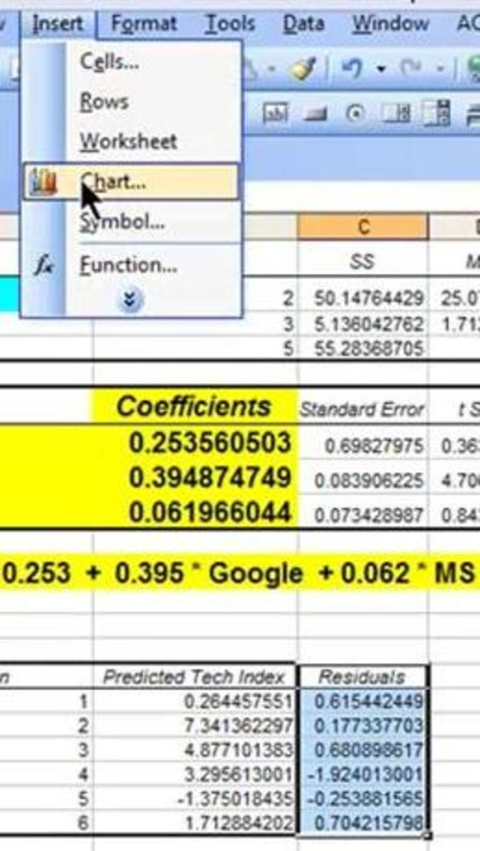 how to find residuals in excel