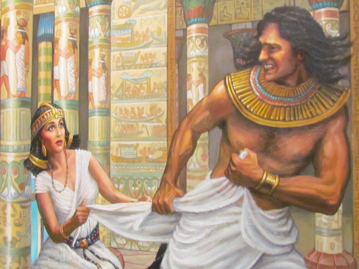 One of the numerous beautiful oil paintings that are displayed within the exhibit. This painting features the aaccount in the Bible of Joseph resist Potiphar's wife at (Genesis 39: 7-20)
