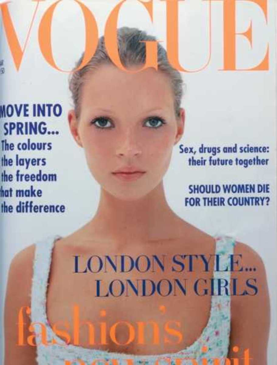 "Kate Moss March,1993: Twiggy brought us the ""twig"" look which Kate made popular again. (Not a huge fan of this look myself)"