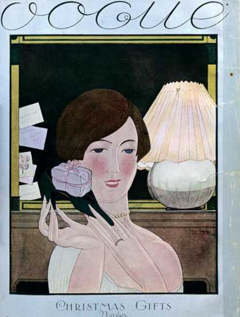November, 1924 I like the font of Vogue and I also love the lack of subtlety here: It's an issue about Christmas gifts and she's holding a giftbox!