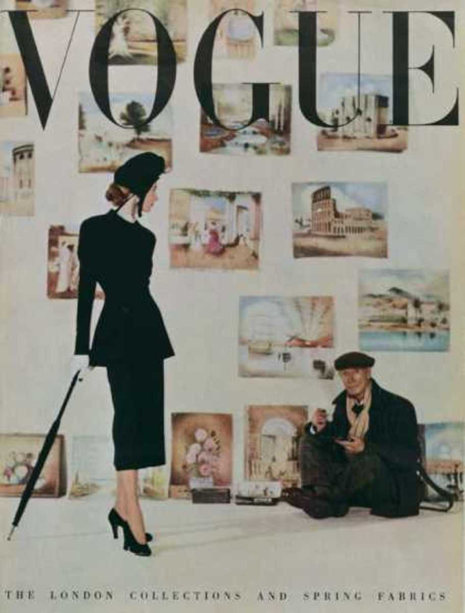 March, 1948. It's unusual to see background people in today's Vogue covers. But I love how they show a woman just walking past a painter and his paintings. I like the artistic touch!