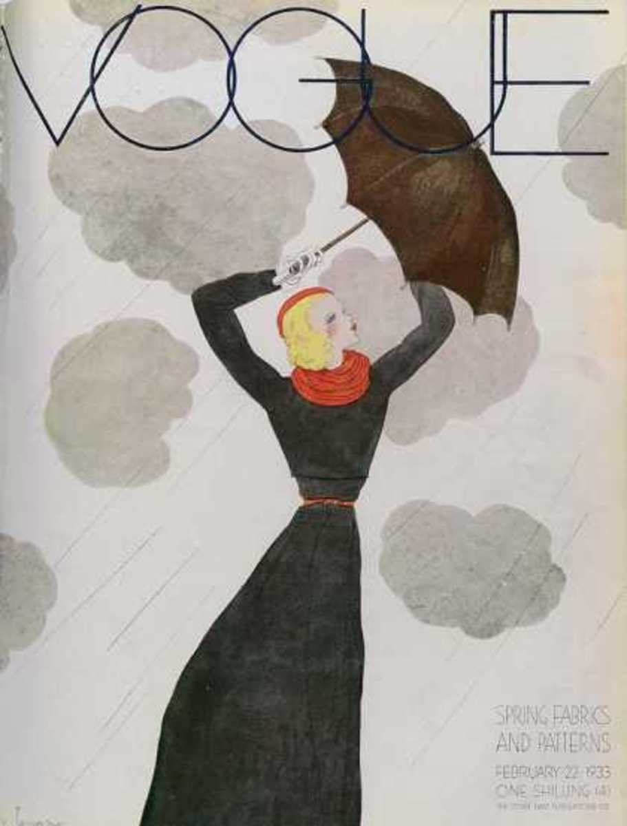 "February, 1933 I love looking at the 1930s covers with the Depression and WWII as a ""background"". And look, it's raining! But fashion prevails even in rain!"