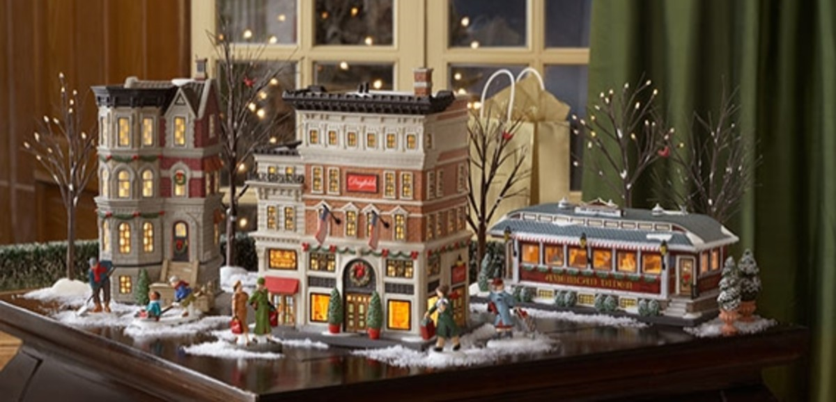 "Porcelain Christmas Village ""Christmas in the City"" Artist:Tom Bates"