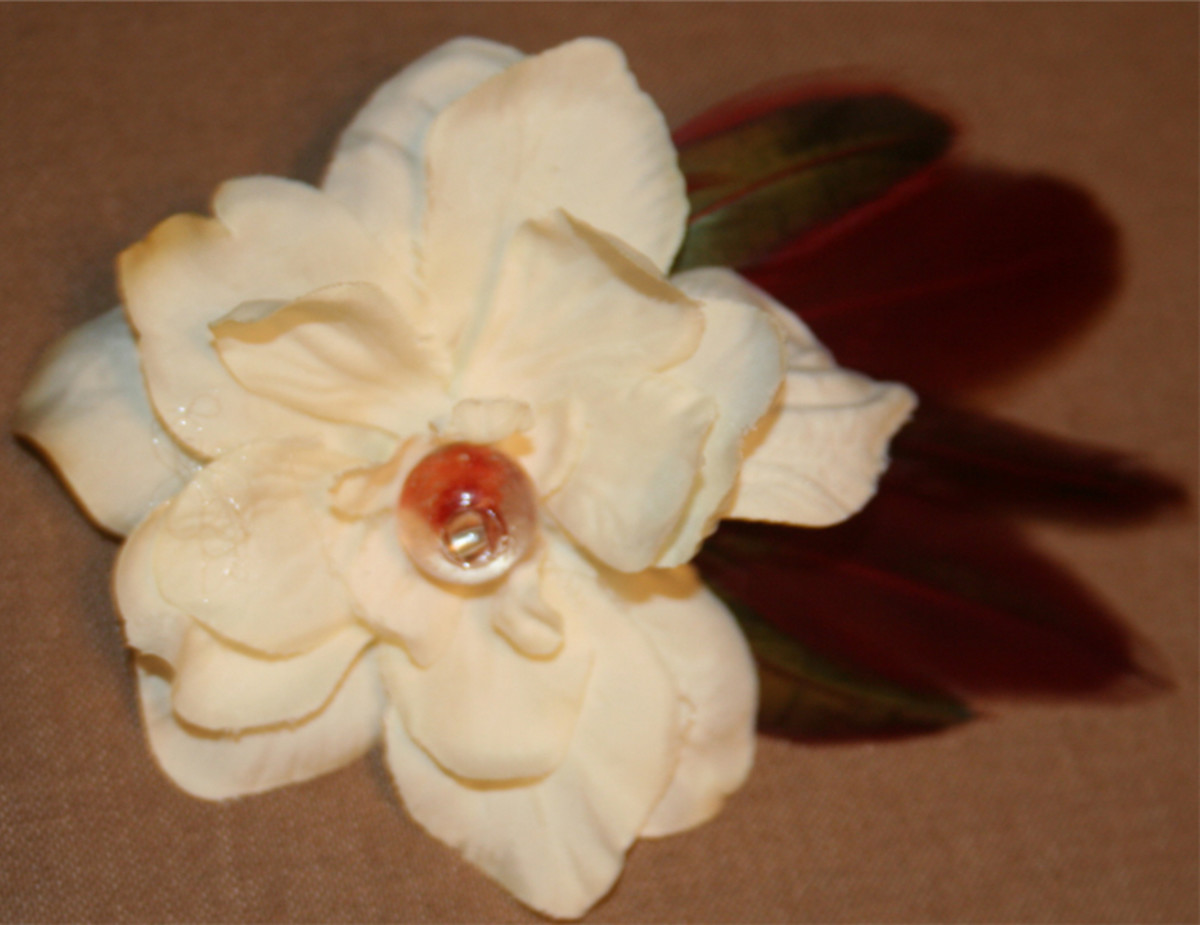 Flower Hair Clips Using Silk Flowers, Beads, and Feathers