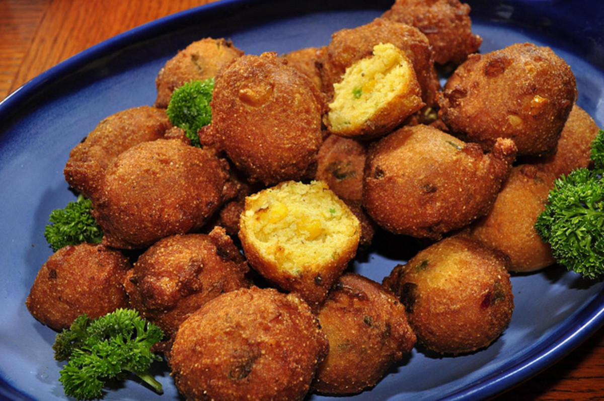 One of the traditional sides to Maryland crabcakes is a plate of hush puppies.