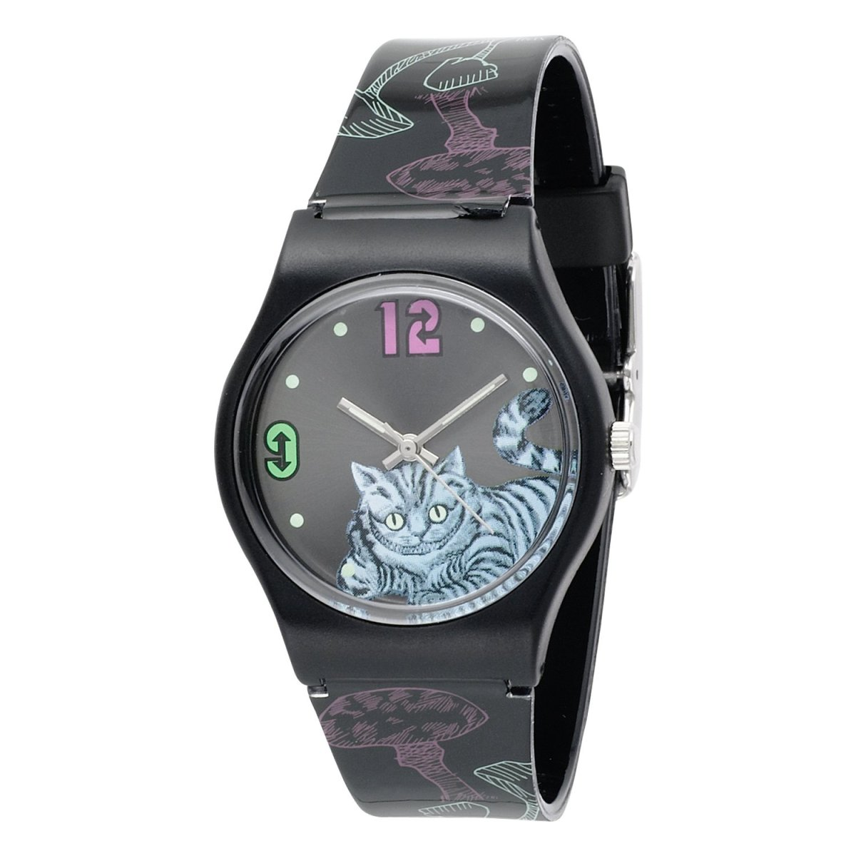 Alice in Wonderland Women's AL1010 Cheshire Cat Black Dial Plastic Strap Watch by Disney