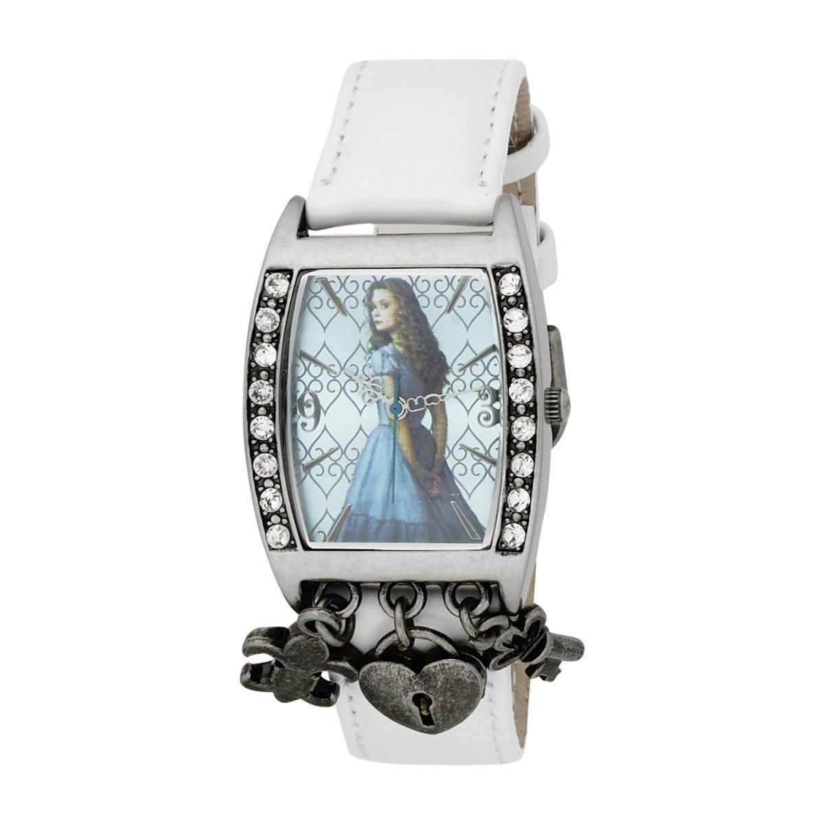 Alice in Wonderland Women's AL1007 Alice Blue Dial White Strap Charm Watch by Disney