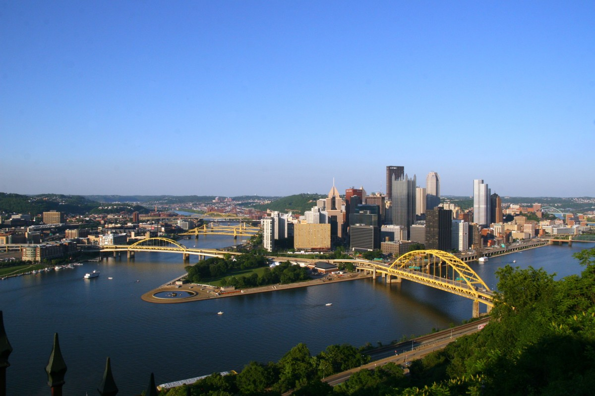 The Pittsburgh skyline: this city boasts a fabulous children's museum, the Carnegie Science Center, zoo with aquarium, and more.
