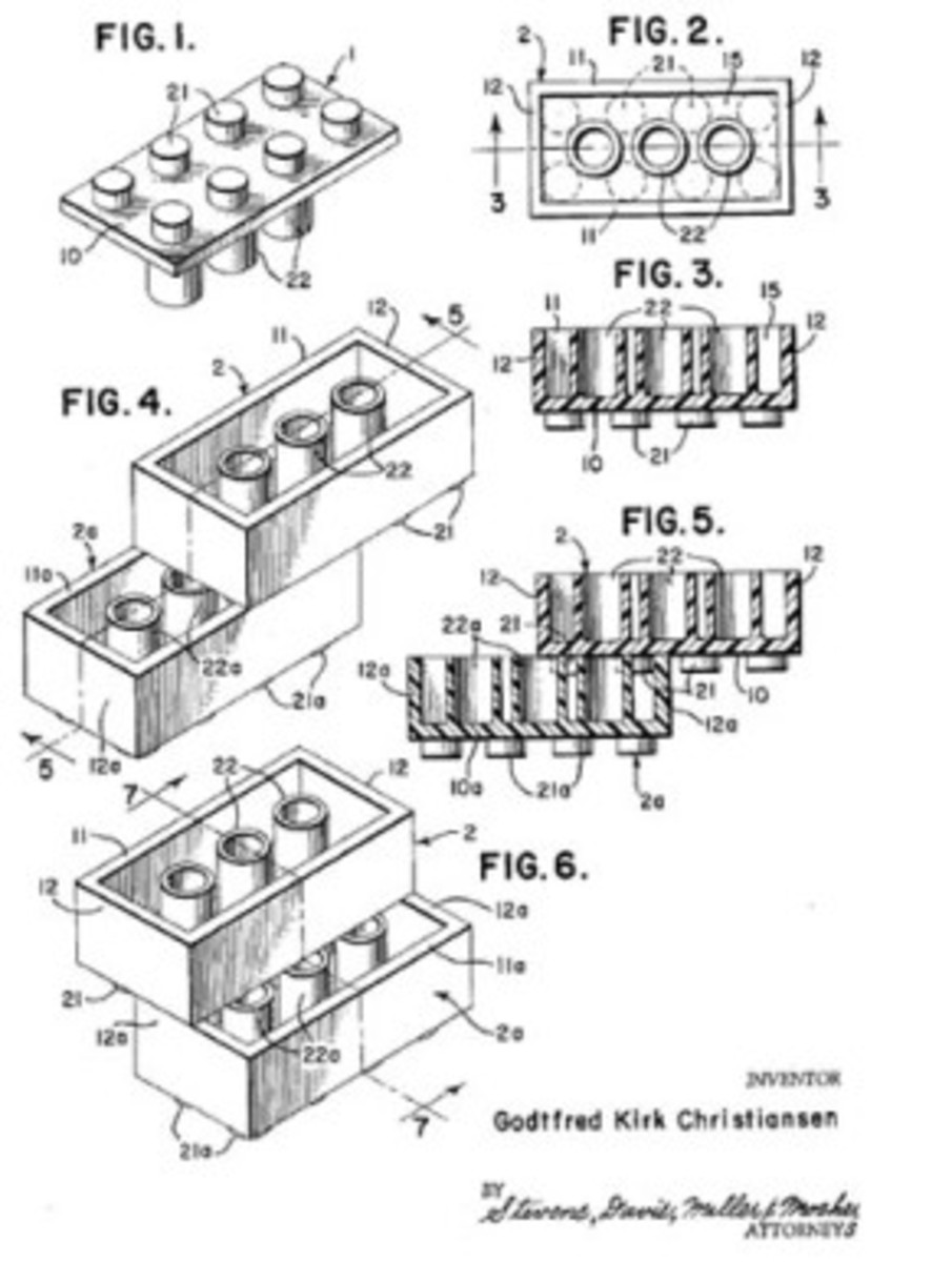 The original design and patent for the LEGO brick