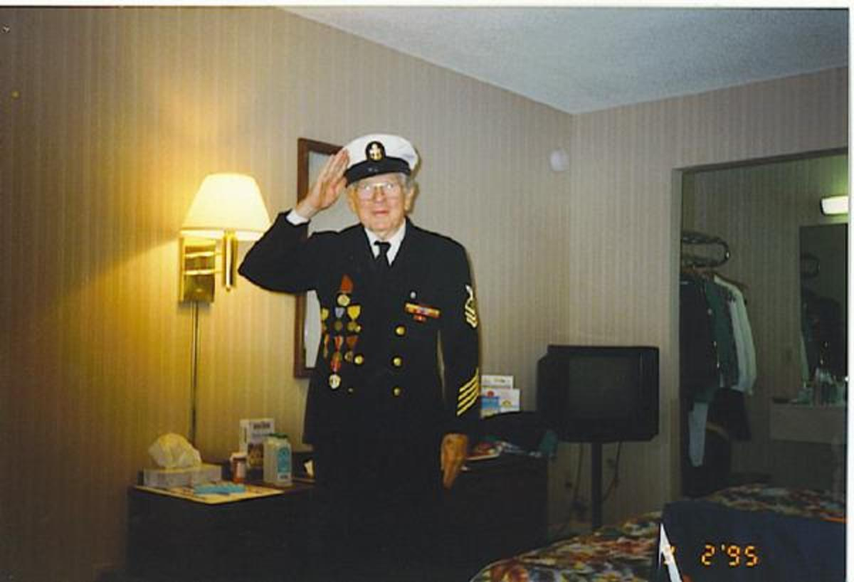 "My dad Alan ""Jim"" Campbell, wore his chiefs uniform at a gathering for the battleship USS North Carolinas, BB-55. 50th anniversary"