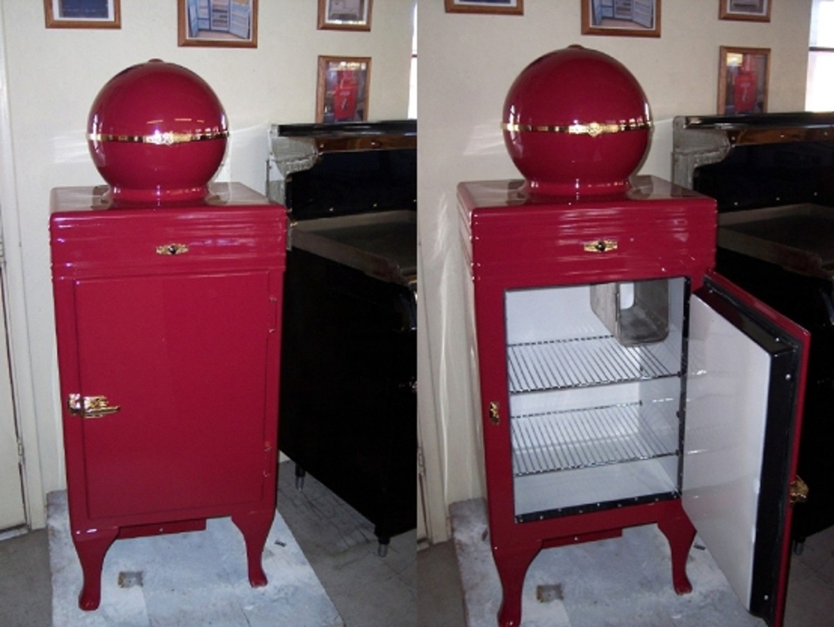 1920's GE Ball Top Refrigerator with 24 carat gold hardware, source: www.antiquevintageappliances.com