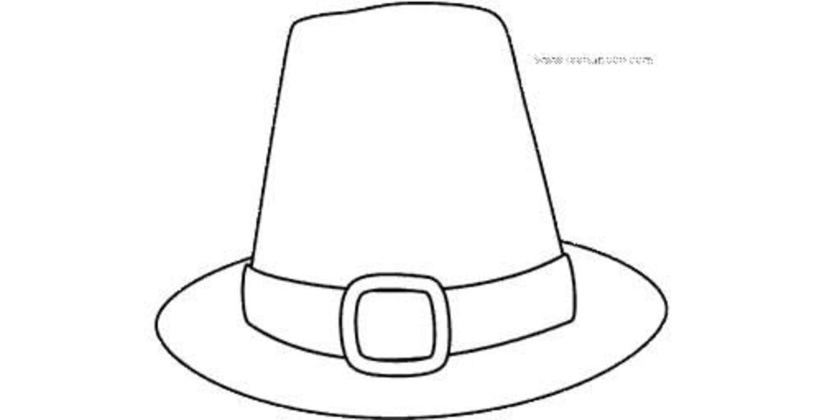Thanksgiving printable Pilgrim hat coloring page