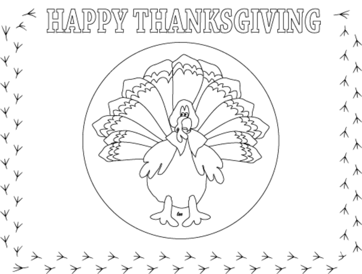 Thanksgiving Turkey Coloring Page Place Mat
