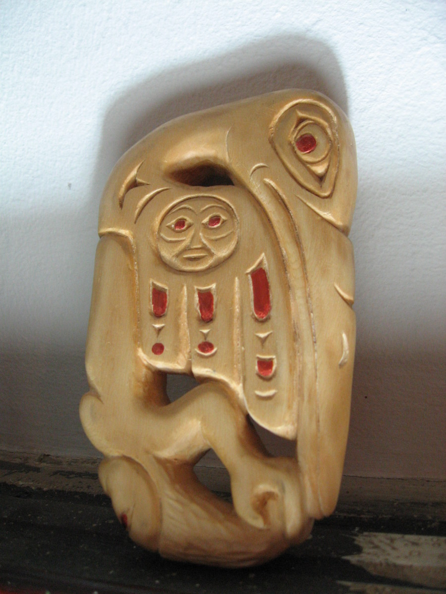 "I made this copy of the 'Shamans Charm' from the West Coast Native woodcarving instruction book ""Carving Totempoles and Masks."""