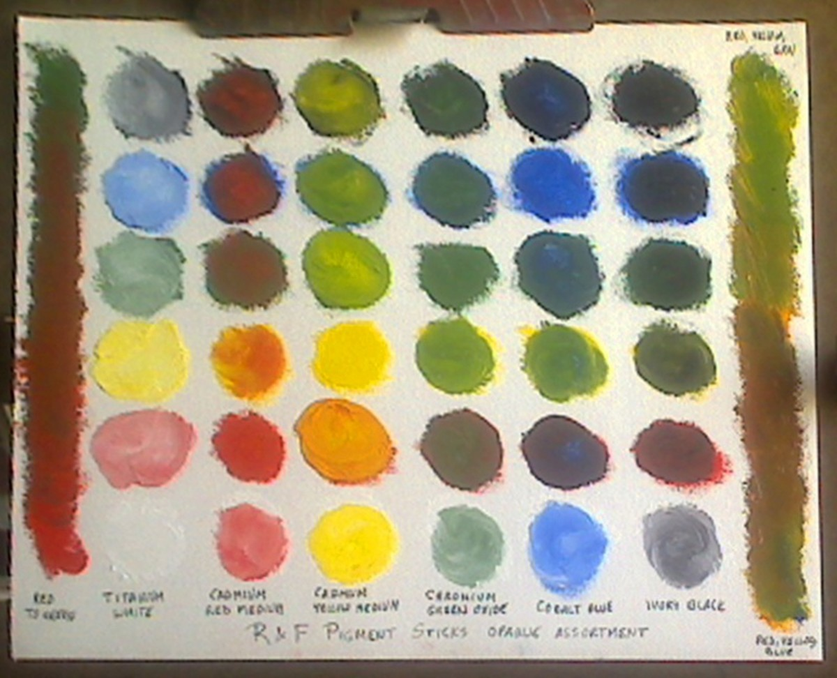 """Mixing chart for six color Opaque Assortment of R & F Pigment Sticks by Robert A. Sloan, on 9"""" x 12"""" Fredrix canvas pad."""