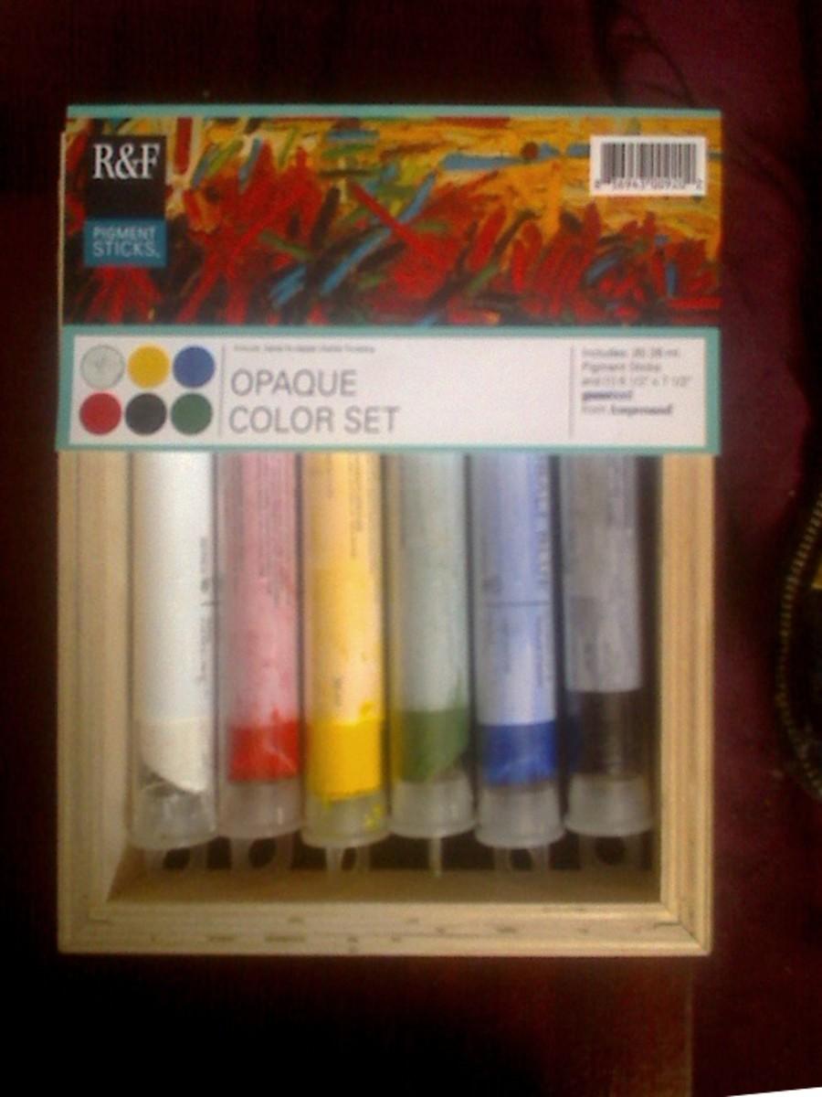 Six color Opaque Assortment of R & F Pigment Sticks.