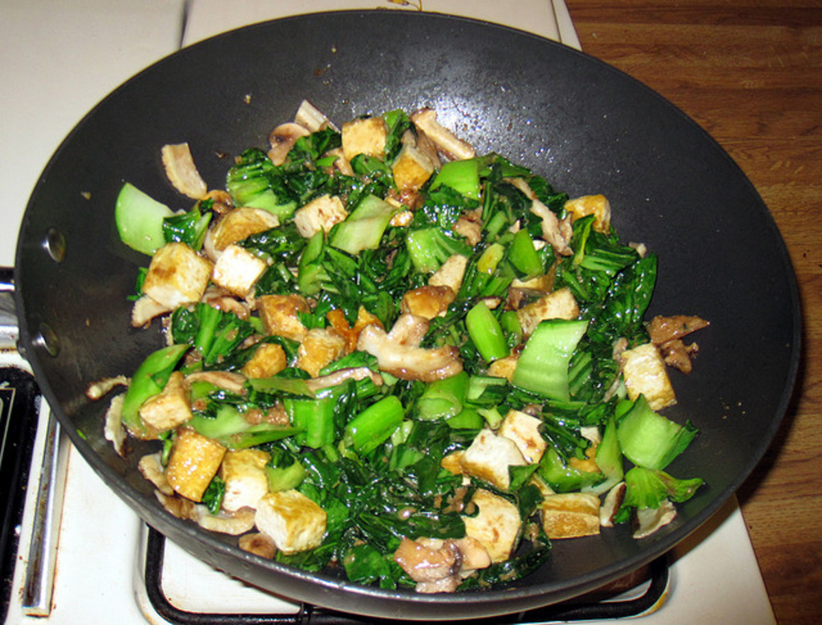 Bok choy and tofu stir-fried.