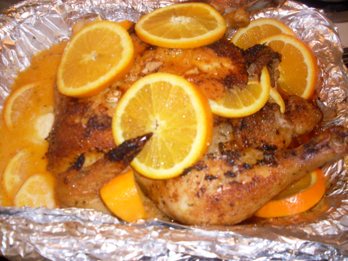 Roasted orange chicken with sweet, fresh and delicious orange slices