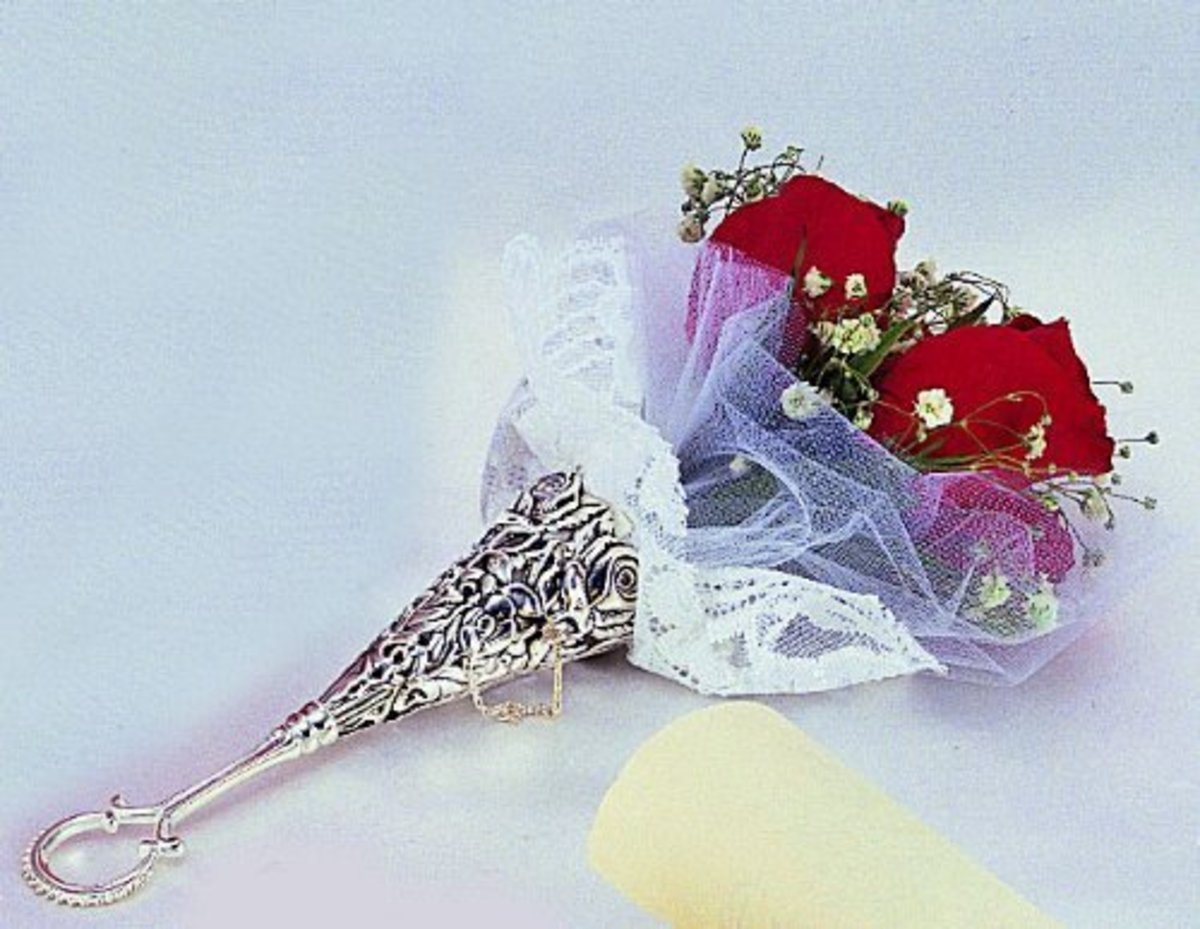 A silver bouquet holder is today's definition of the term.