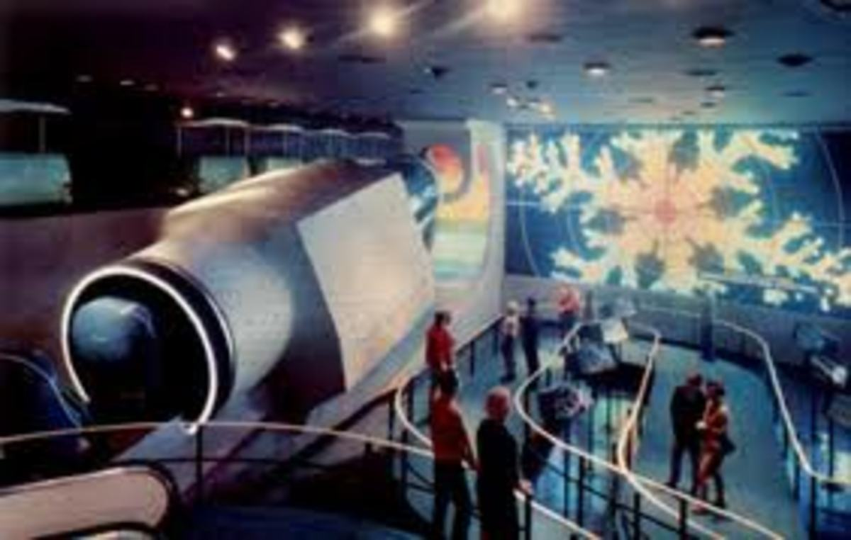 The Mighty Monsanto Microscope As it appeared to perspective passengers waiting in line for Adventures Thru Inner Space.