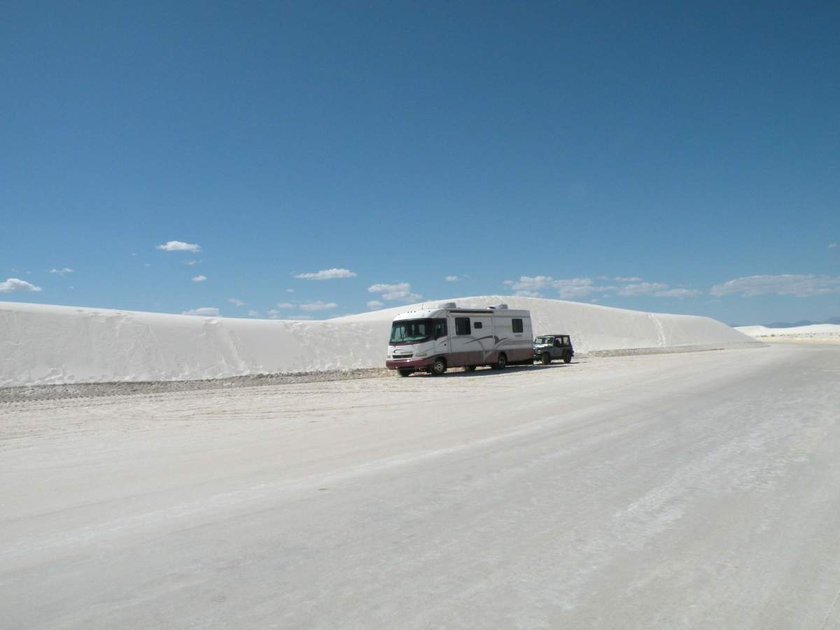 The 8-mile scenic drive and parking areas in the White Sands National Monument were RV friendly.