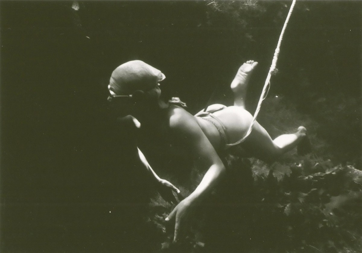 Ama Diver with a rope around her waist.