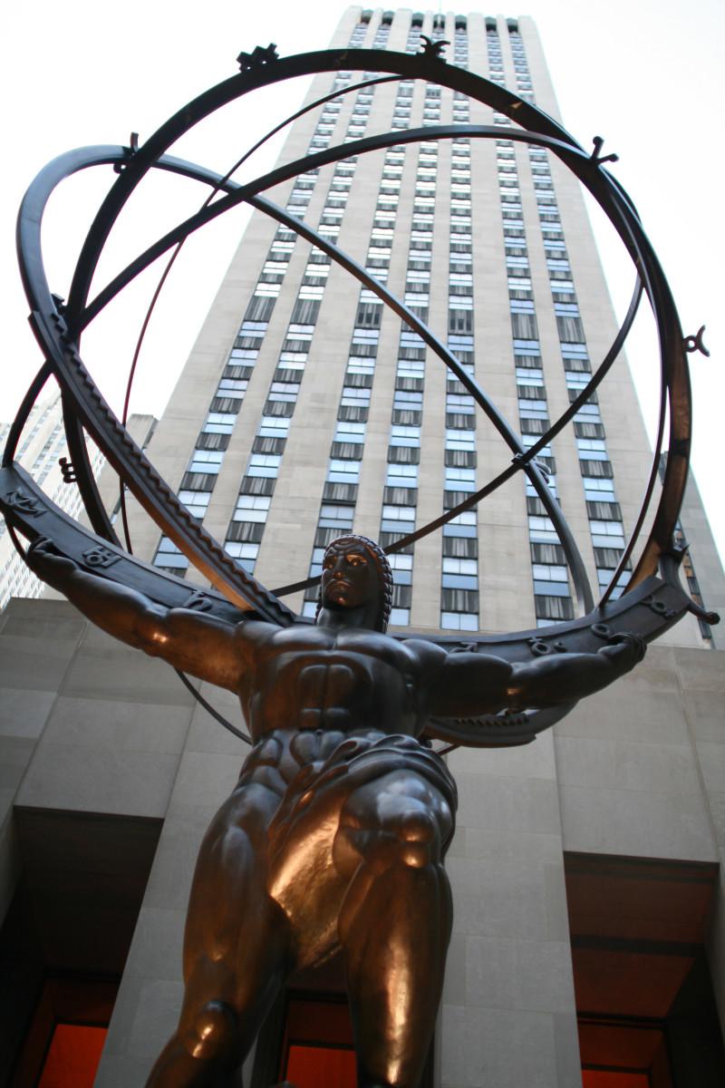 Lee Lawrie's colossal bronze Atlas, Rockefeller Center, New York