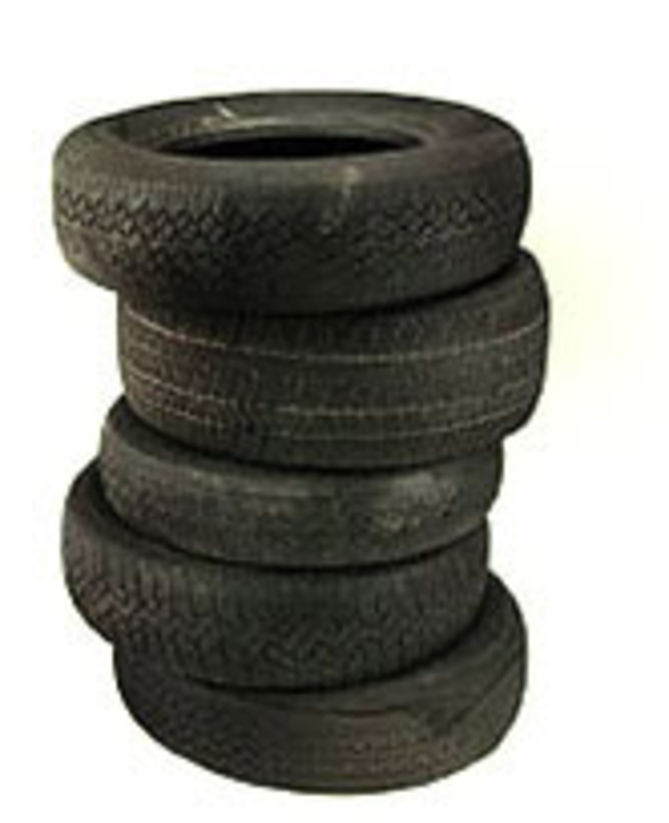 Tires are some of the worst landfill offenders.. .. Tire recycling is becoming more prevalent to help pick up the slack, with old tire recycling into asphalt, shoes, basketball courts, and even art.