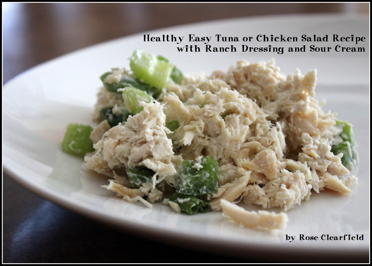 Healthy Easy Tuna OR Chicken Salad Recipe with Ranch Dressing and Sour Cream