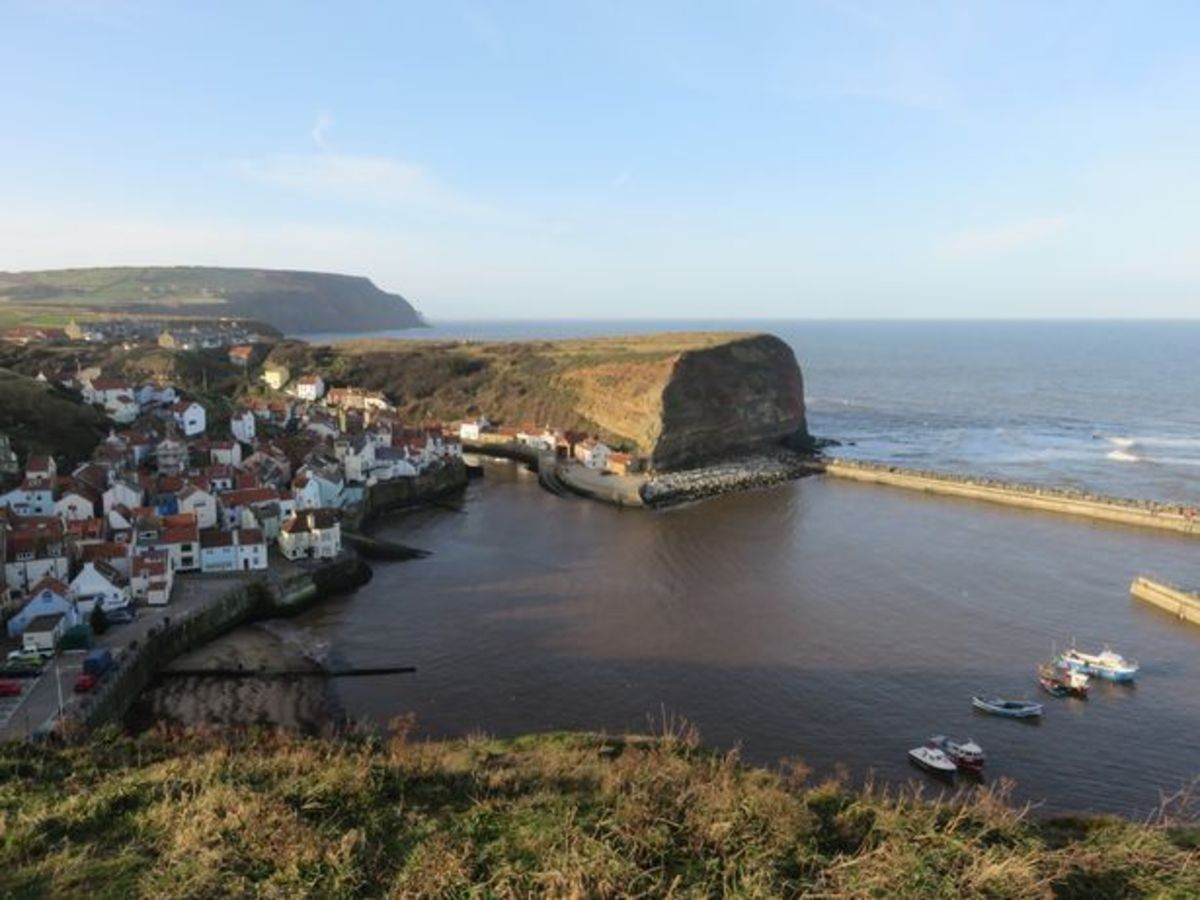 A look back to Staithes from the south on the way to Runswick Bay - this view demonstrates the power of the North Sea waves, shortly after Cook's death on Hawaii a freak wave severed the end of Cat Nab behind Mr Sanderson's shop near the road end