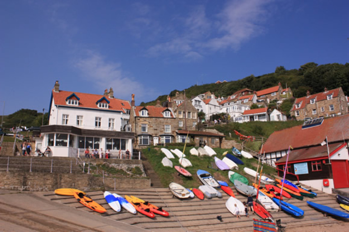 Runswick village from the boat landing, where the inshore fishing vessels are drawn up by tractors as in other coastal settlements along here
