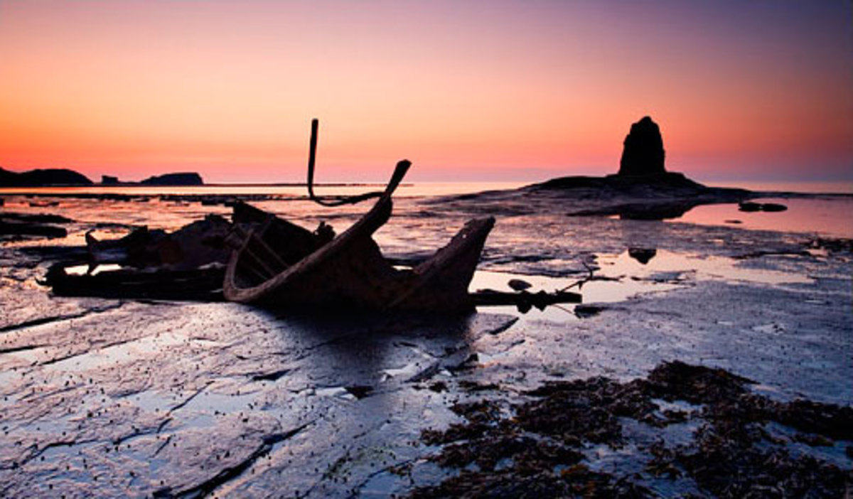Black Nab in Saltwick Bay, where Dracula came ashore from the wreck of his ship. It's possible Stoker saw the remains of a wooden-hulled ship like this one and the idea germinated...