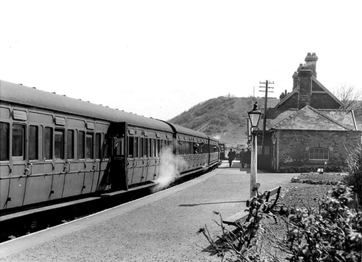 Sandsend Station in the 1950s, looking south with a local passenger working. Corridor stock never ran on this line, closed in 1958