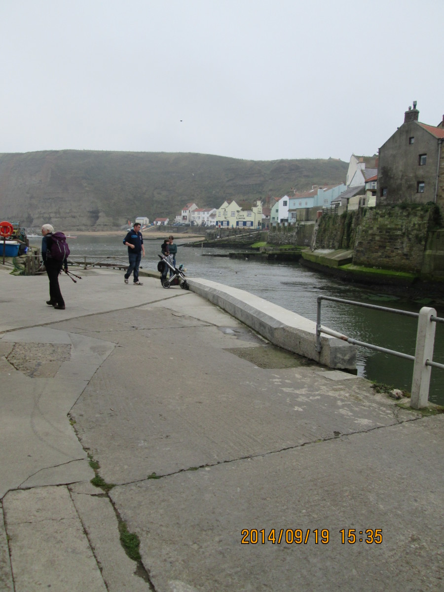 Looking from across the creek to the old town. The lifeboat station is on this side, near where William Sanderson's shop was before Cat Nab was sheared by a freak storm in the 18th Century (James Cook was apprenticed to Sanderson before going to sea)