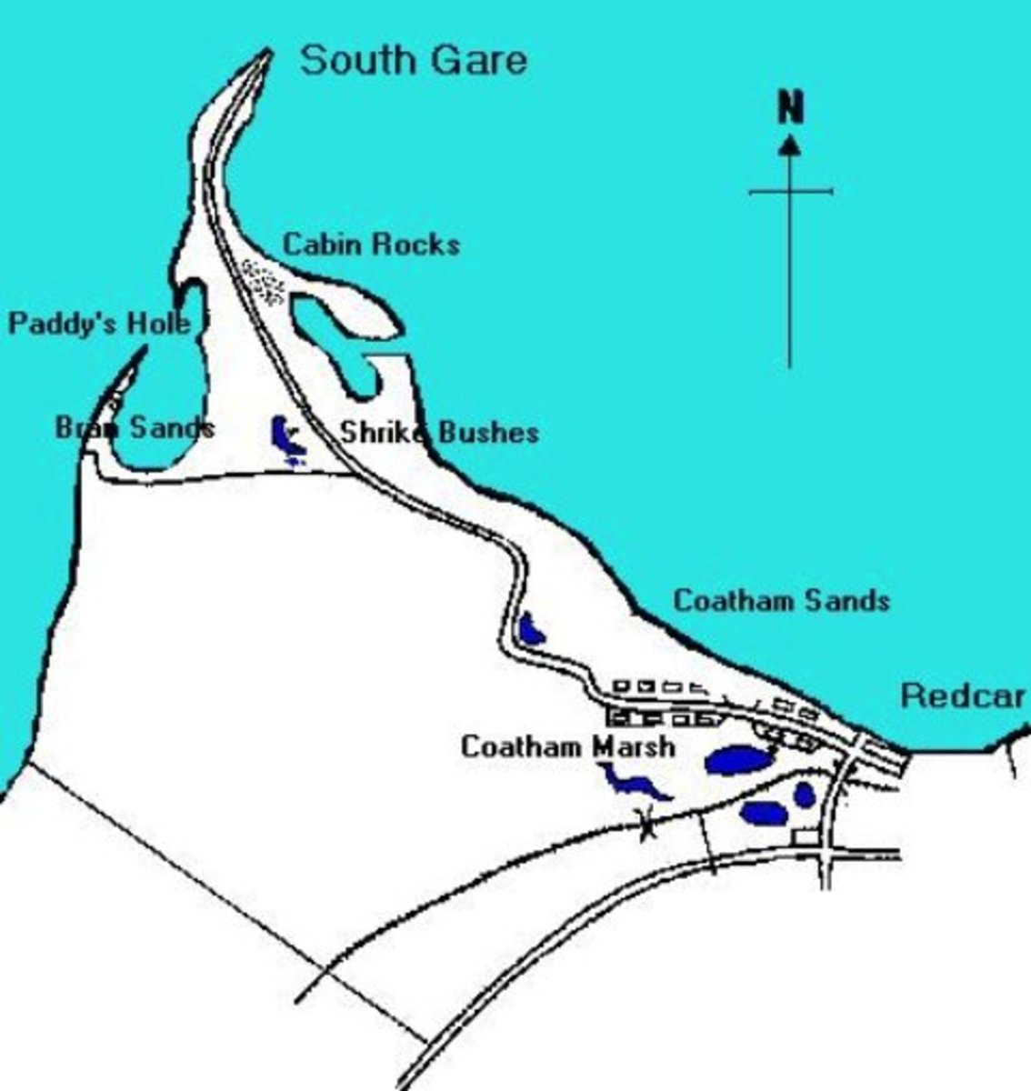 South Gare, north-west of Coatham. Not marked on the map is the ore terminal and the now de-commissioned Warrenby works west of Coatham, close to where the road bends sharply north-eastward